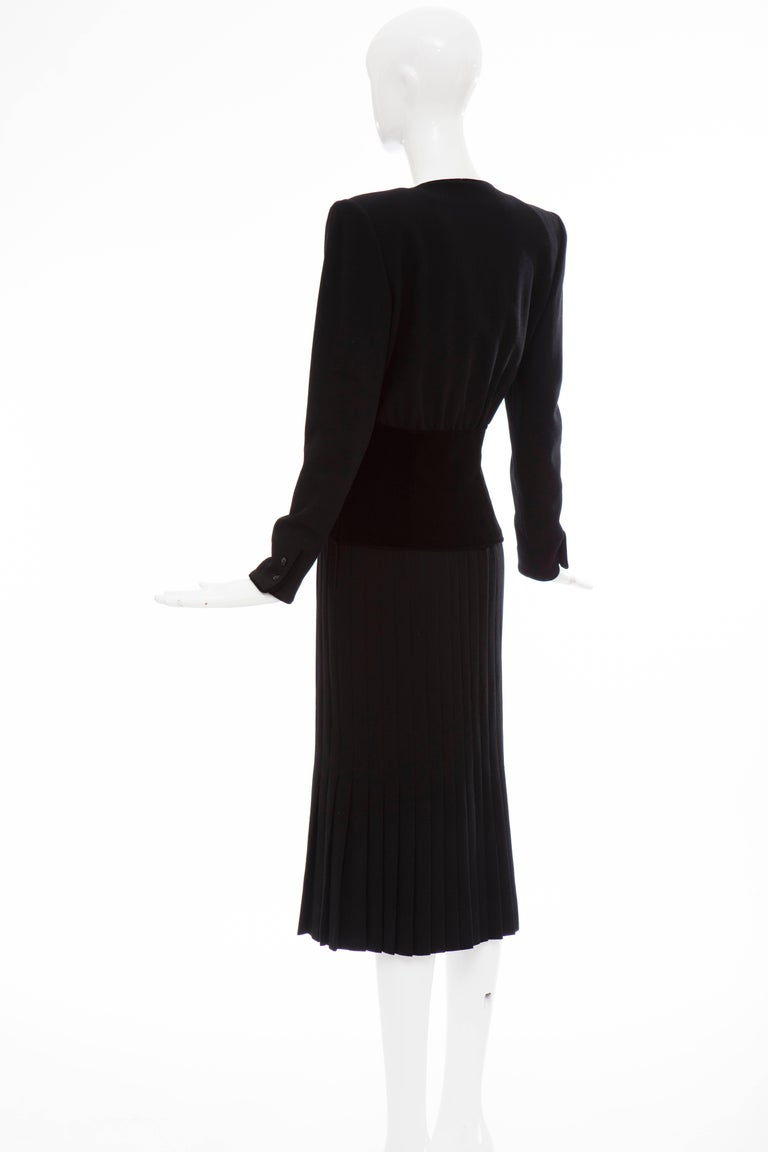 Valentino Black Wool Crepe And Velvet Evening Dress, Circa 1980's For Sale 4