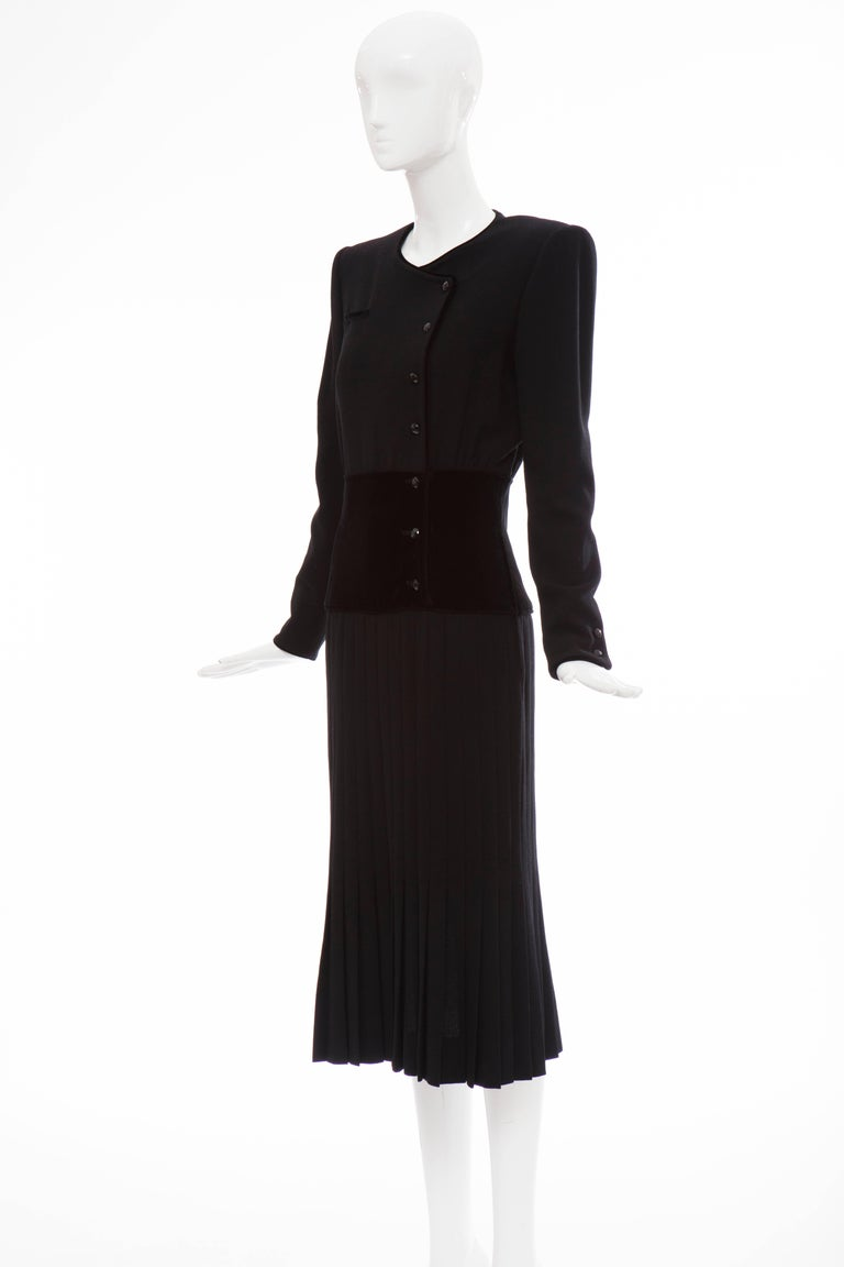 Valentino Black Wool Crepe And Velvet Evening Dress, Circa 1980's For Sale 5