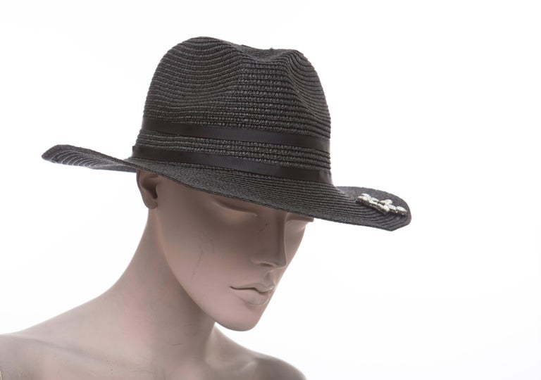 e368397107a Yves Saint Laurent Black Straw Hat With Crystal Stars And Black Grosgrain  Trim In New Condition