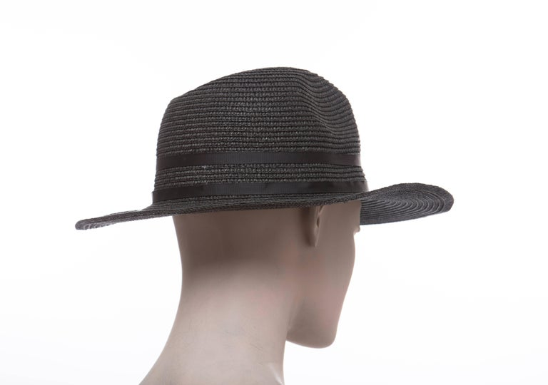 85b016ae82f Yves Saint Laurent Black Straw Hat With Crystal Stars And Black Grosgrain  Trim For Sale 1