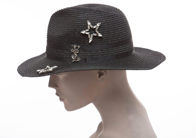 f72663bbb08 Yves Saint Laurent Black Straw Hat With Crystal Stars And Black Grosgrain  Trim For Sale 4