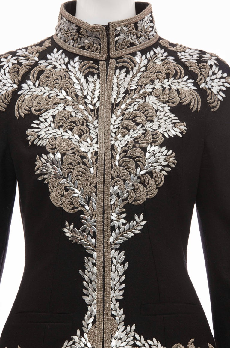 Alexander McQueen Black Wool Zip Front Embroidered Jacket, Circa 2004 For Sale 1