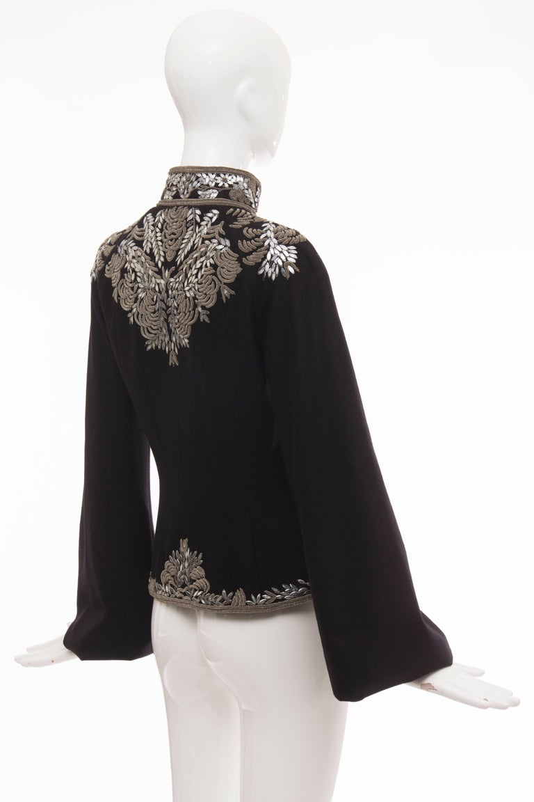 Alexander McQueen Black Wool Zip Front Embroidered Jacket, Circa 2004 For Sale 2