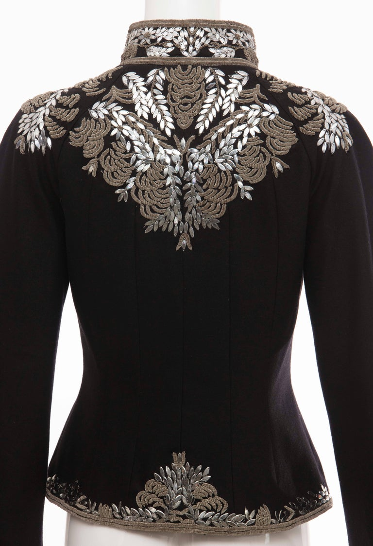 Alexander McQueen Black Wool Zip Front Embroidered Jacket, Circa 2004 For Sale 3