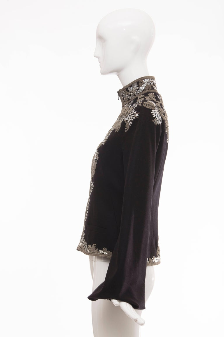Alexander McQueen Black Wool Zip Front Embroidered Jacket, Circa 2004 For Sale 4