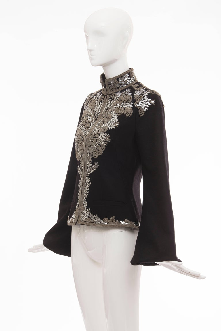 Alexander McQueen Black Wool Zip Front Embroidered Jacket, Circa 2004 For Sale 5