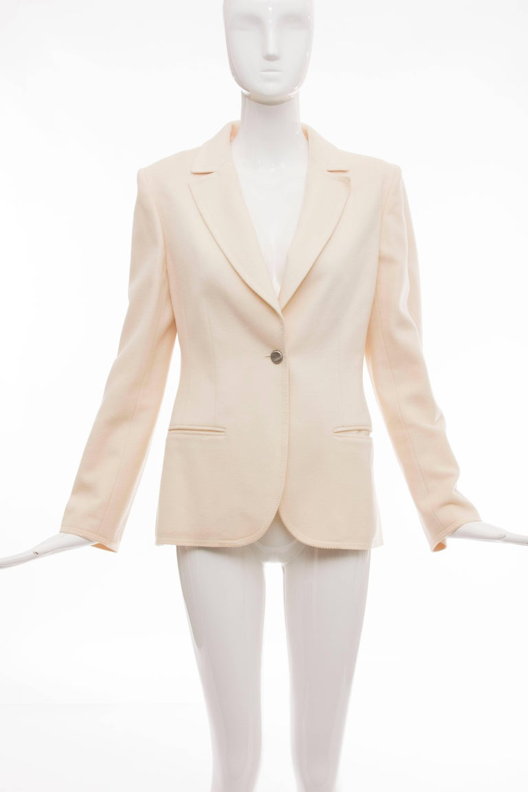 Chanel, Pre-Fall 1998 cream wool button front jacket, two front pockets and fully lined in signature CC silk.  EU. 42  Bust 34, Waist 32, Sleeve 24, Length 27