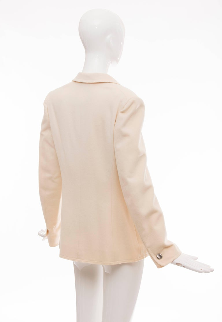 Chanel Cream Wool Button Front Jacket,  Pre - Fall 1998 For Sale 1
