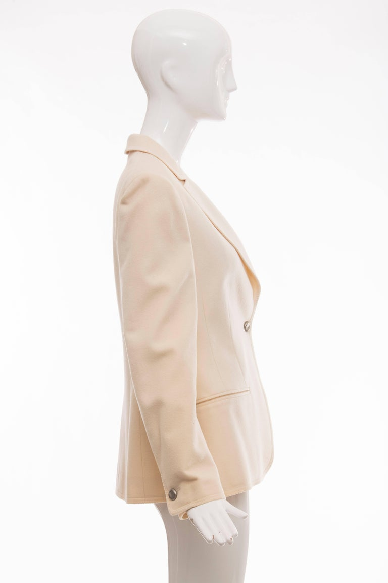 Chanel Cream Wool Button Front Jacket,  Pre - Fall 1998 For Sale 2