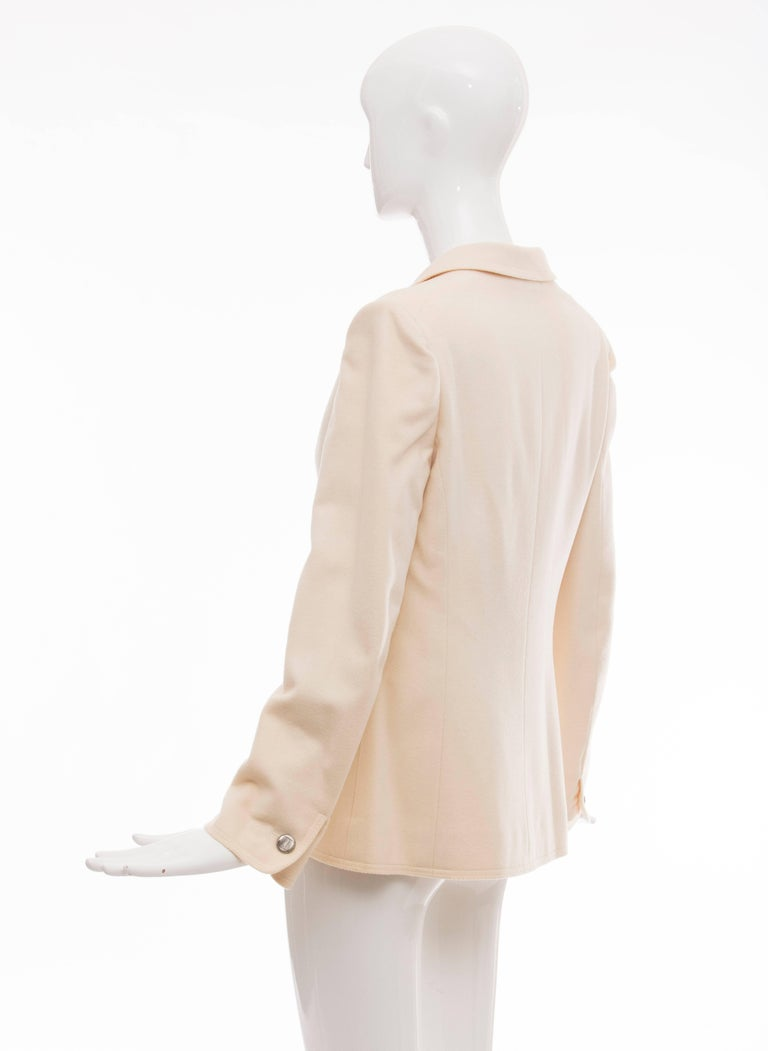 Chanel Cream Wool Button Front Jacket,  Pre - Fall 1998 For Sale 3