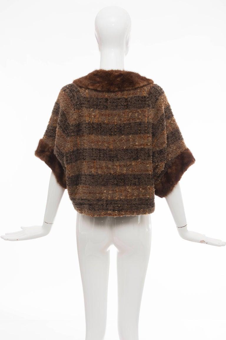 Black Olivier Theyskens Runway Brown Metallic Tweed Cropped Jacket Fur Trim, Fall 2001 For Sale