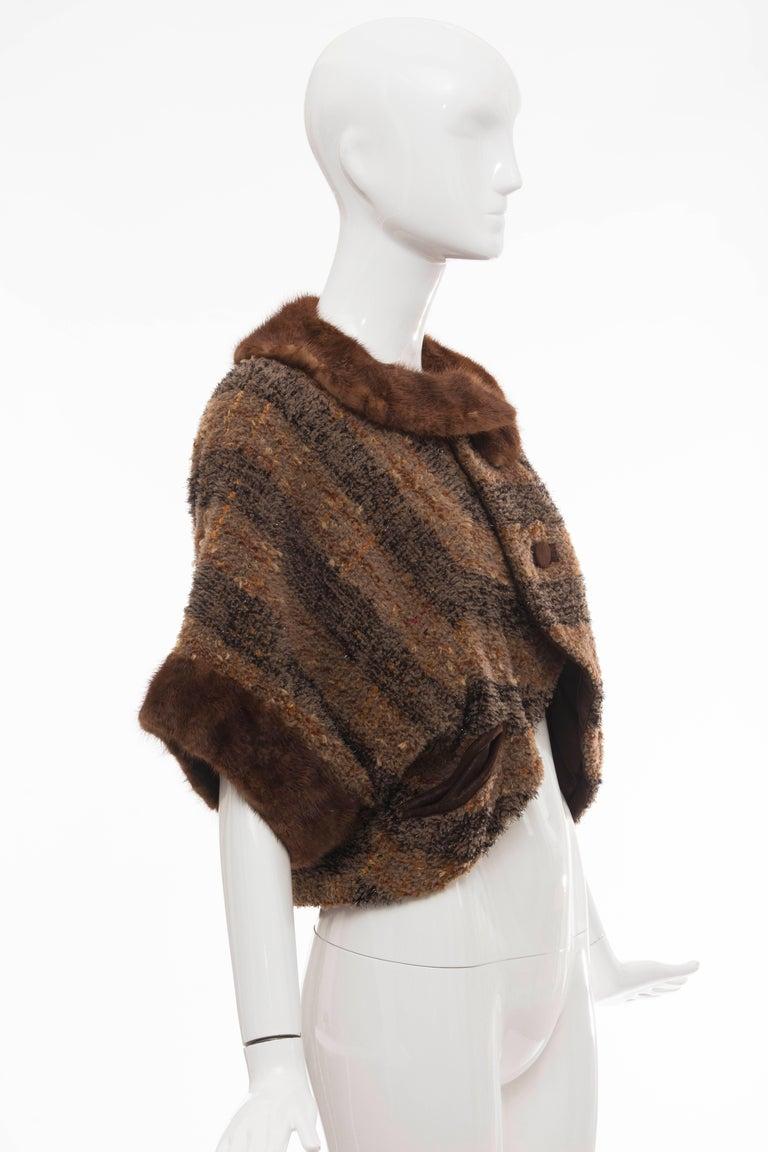 Olivier Theyskens Runway Brown Metallic Tweed Cropped Jacket Fur Trim, Fall 2001 In Excellent Condition For Sale In Cincinnati, OH
