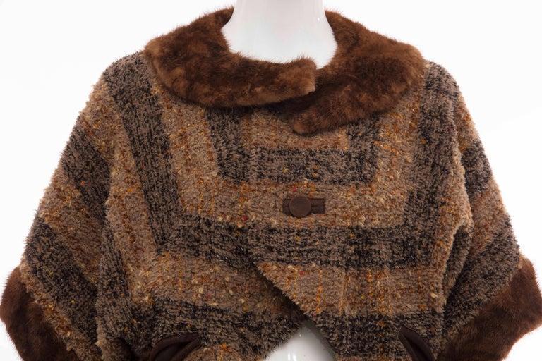 Women's Olivier Theyskens Runway Brown Metallic Tweed Cropped Jacket Fur Trim, Fall 2001 For Sale