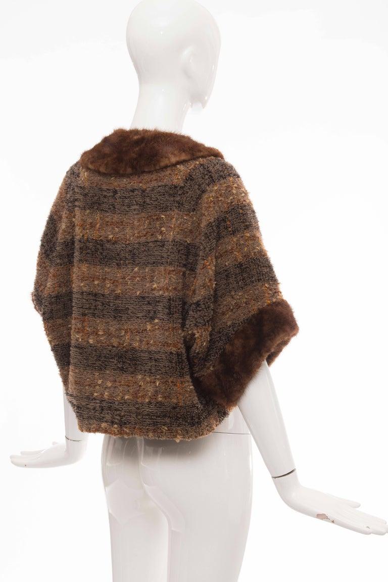 Olivier Theyskens Runway Brown Metallic Tweed Cropped Jacket Fur Trim, Fall 2001 For Sale 1