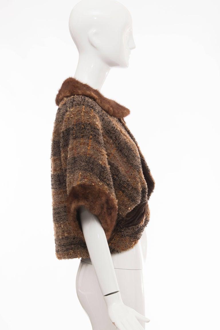 Olivier Theyskens Runway Brown Metallic Tweed Cropped Jacket Fur Trim, Fall 2001 For Sale 2