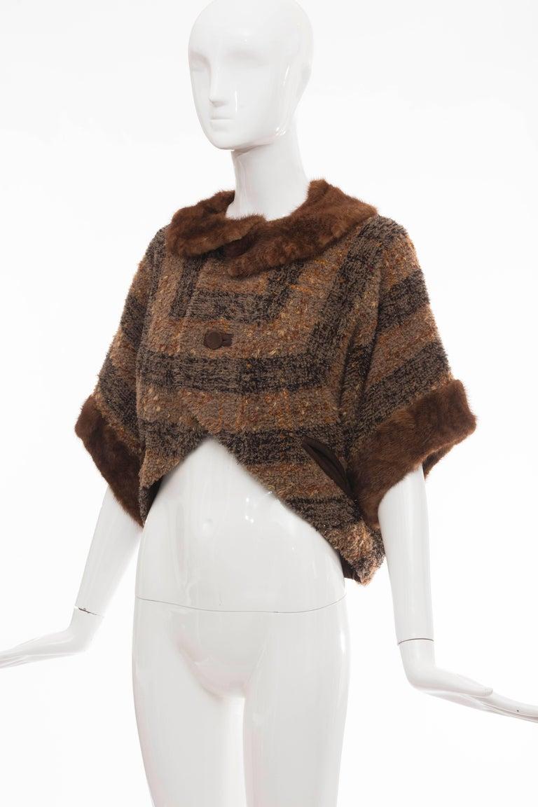 Olivier Theyskens Runway Brown Metallic Tweed Cropped Jacket Fur Trim, Fall 2001 For Sale 3
