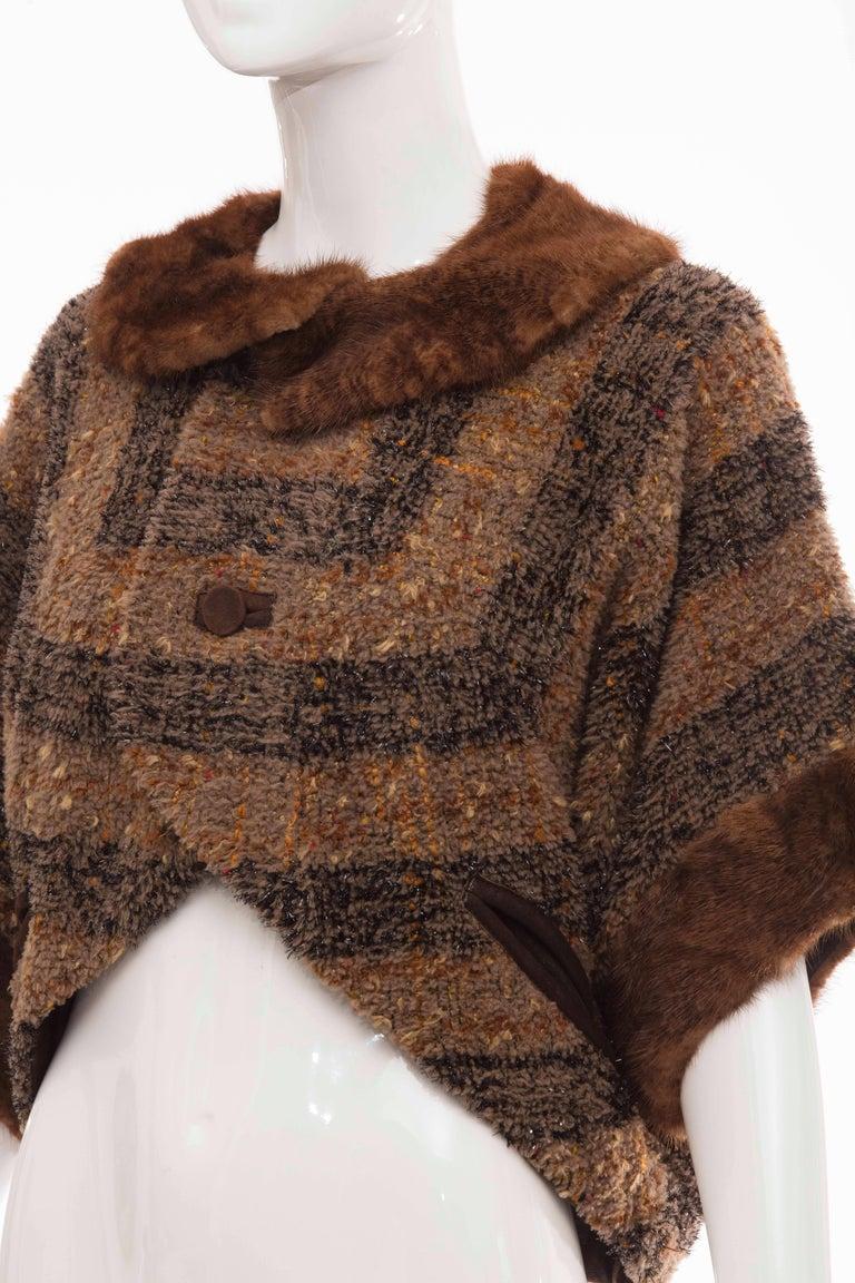 Olivier Theyskens Runway Brown Metallic Tweed Cropped Jacket Fur Trim, Fall 2001 For Sale 4