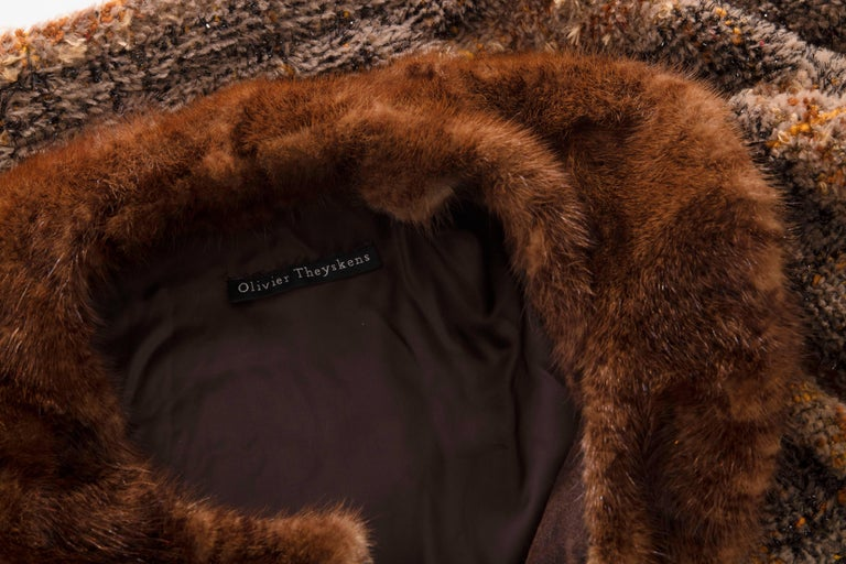 Olivier Theyskens Runway Brown Metallic Tweed Cropped Jacket Fur Trim, Fall 2001 For Sale 5