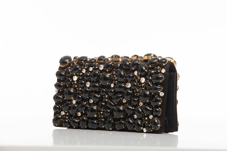 Women's Prada Black Silk Satin Raso Pietre Evening Clutch, Spring 2011 For Sale