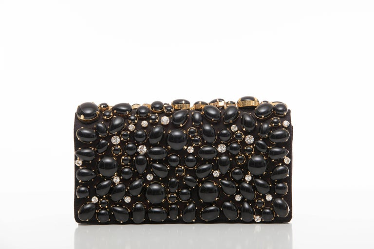 Prada Black Silk Satin Raso Pietre Evening Clutch, Spring 2011 For Sale 1