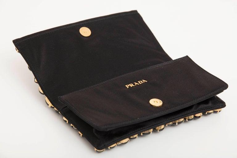 Prada Black Silk Satin Raso Pietre Evening Clutch, Spring 2011 For Sale 3