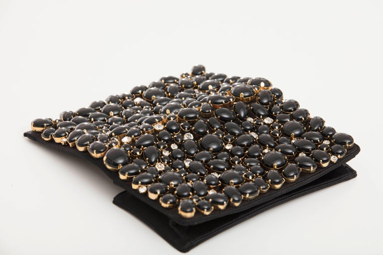 Prada Black Silk Satin Raso Pietre Evening Clutch, Spring 2011 For Sale 4