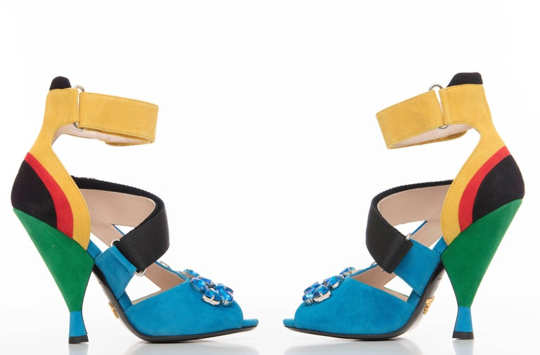 Prada Suede Sandals With Jewel Embellishments, Spring 2014 In New never worn Condition For Sale In Cincinnati, OH