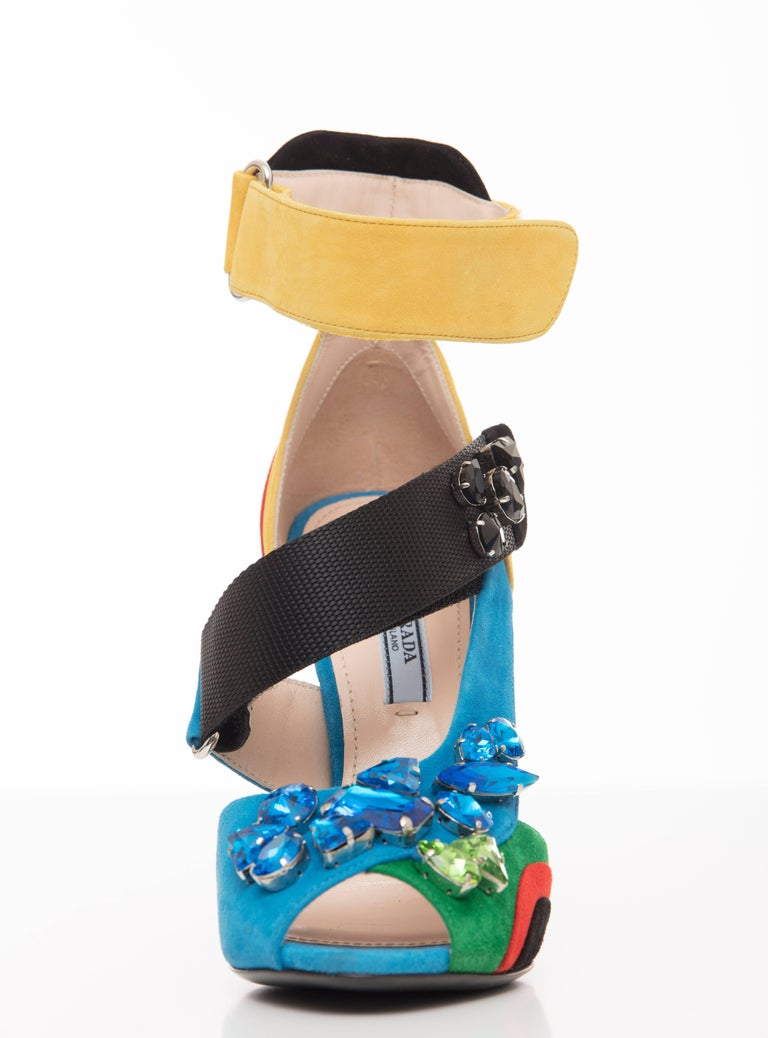 Prada Suede Sandals With Jewel Embellishments, Spring 2014 For Sale 1
