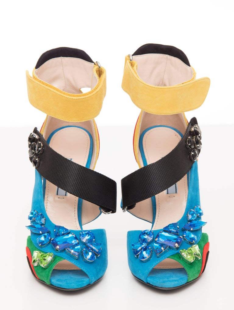Prada Suede Sandals With Jewel Embellishments, Spring 2014 For Sale 2