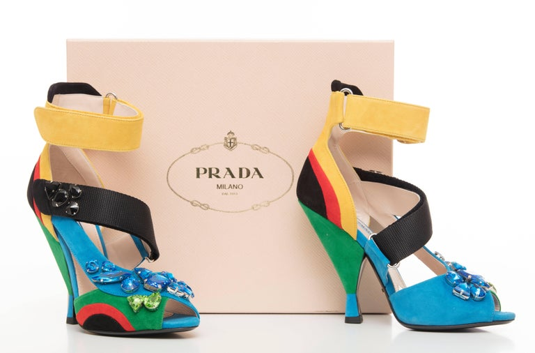 Prada Suede Sandals With Jewel Embellishments, Spring 2014 For Sale 3
