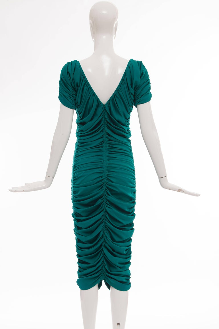 Blue Zac Posen Teal Silk Ruched Dress, Fall 2004 For Sale