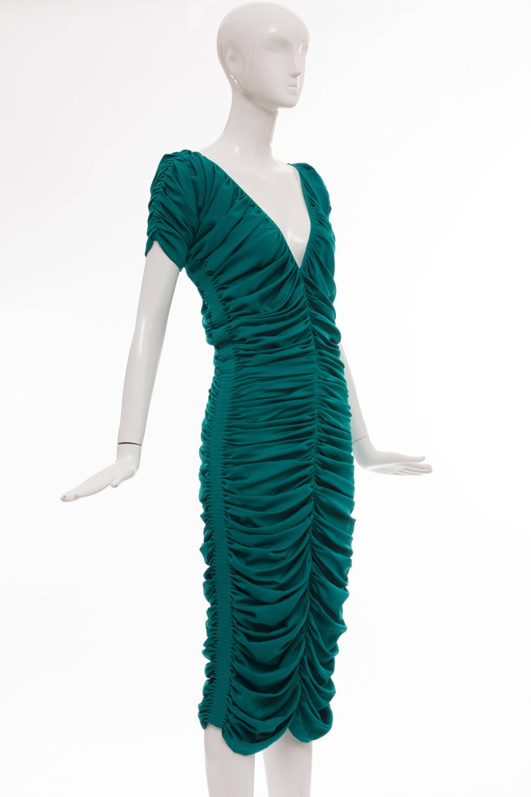 Zac Posen Teal Silk Ruched Dress, Fall 2004 In Excellent Condition For Sale In Cincinnati, OH