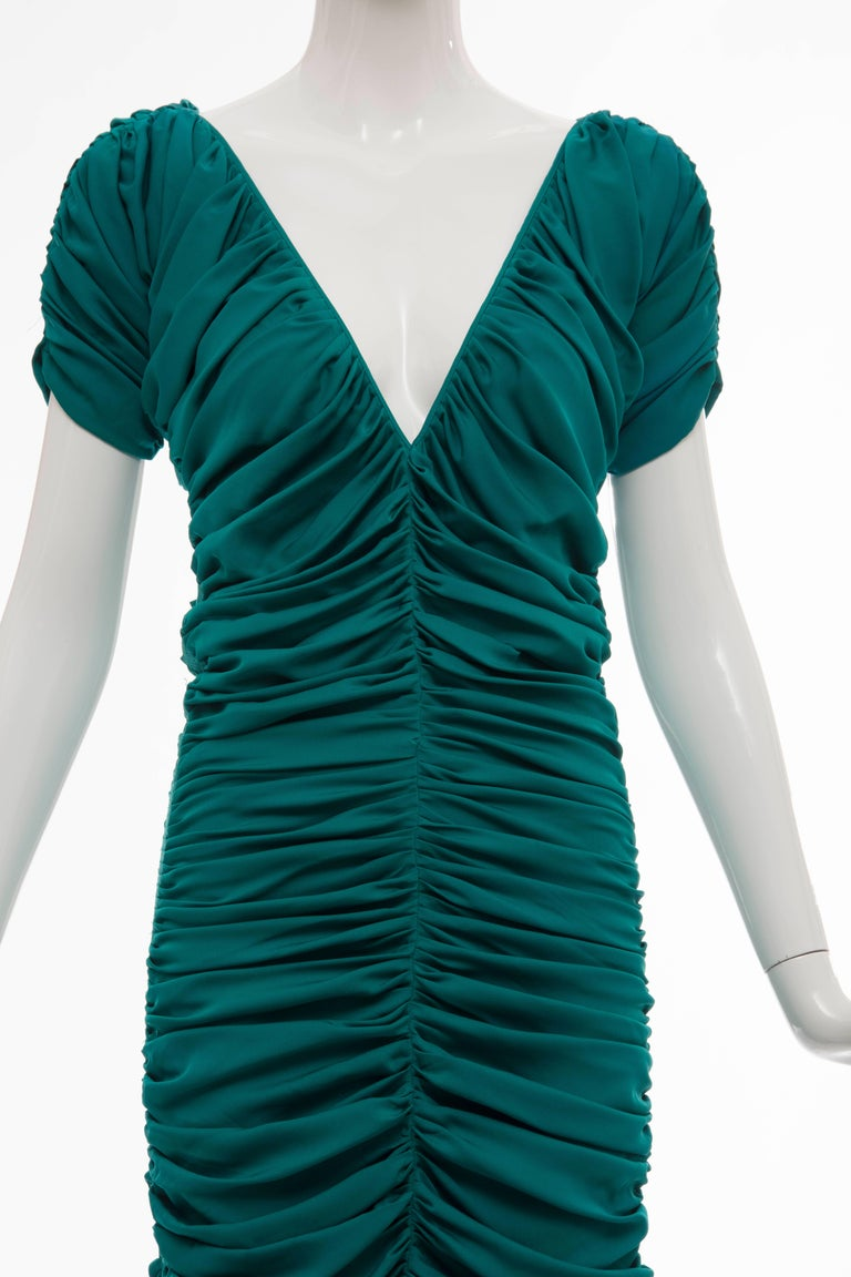 Women's Zac Posen Teal Silk Ruched Dress, Fall 2004 For Sale