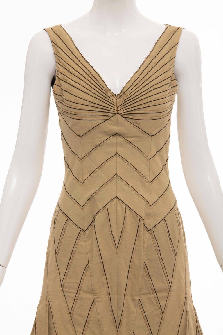 47b4e8b4cd8 Women s Zac Posen Silk Cotton Khaki Runway Dress