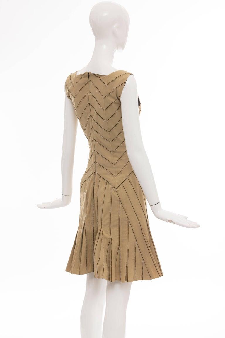 590fc3d0acf Zac Posen Silk Cotton Khaki Runway Dress