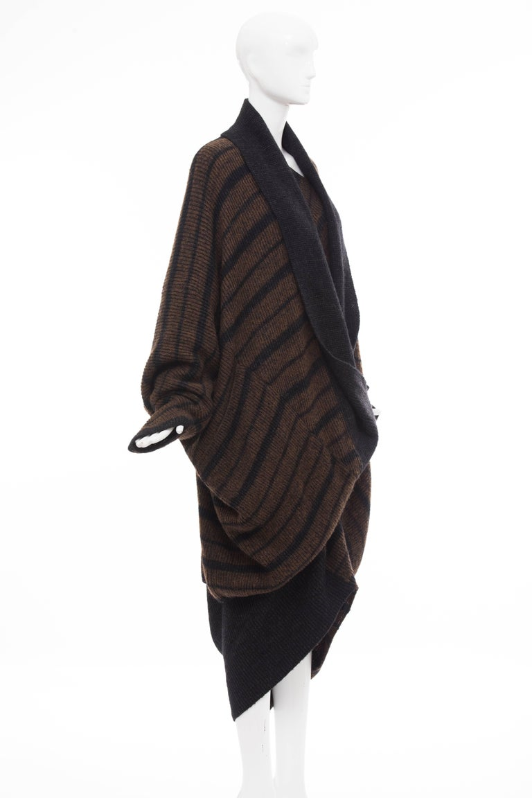 Issey Miyake Striped Wool Sweater Dress Cocoon Cardigan Ensemble, Circa 1970s In Excellent Condition For Sale In Cincinnati, OH