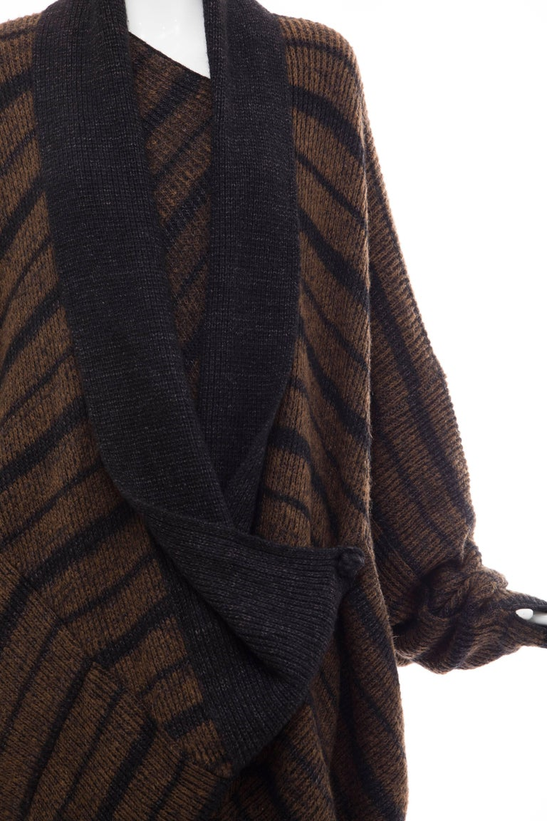 Women's Issey Miyake Striped Wool Sweater Dress Cocoon Cardigan Ensemble, Circa 1970s For Sale