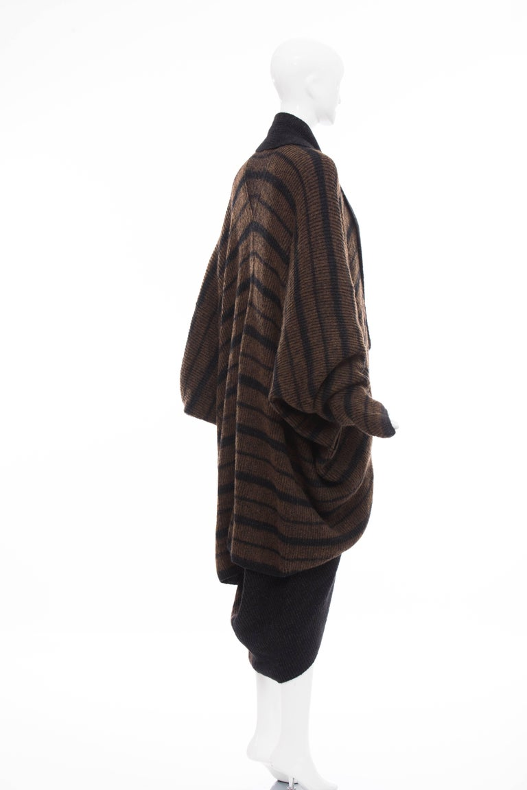 Issey Miyake Striped Wool Sweater Dress Cocoon Cardigan Ensemble, Circa 1970s For Sale 1