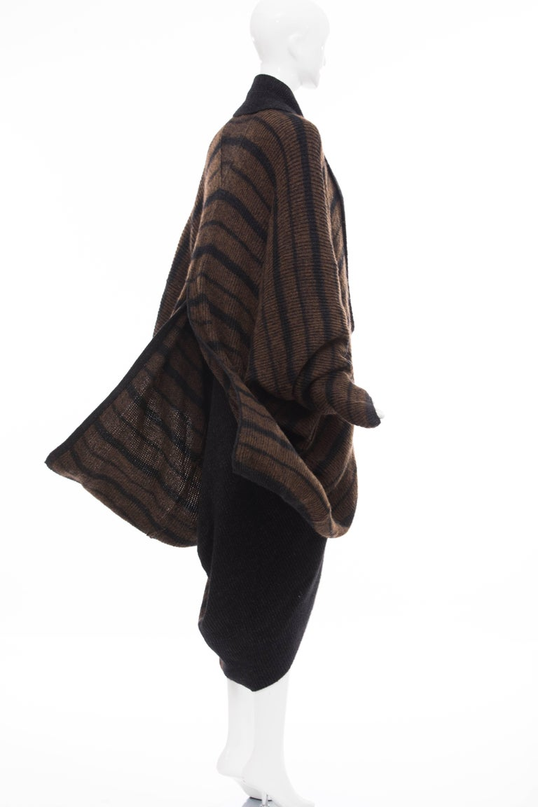 Issey Miyake Striped Wool Sweater Dress Cocoon Cardigan Ensemble, Circa 1970s For Sale 2