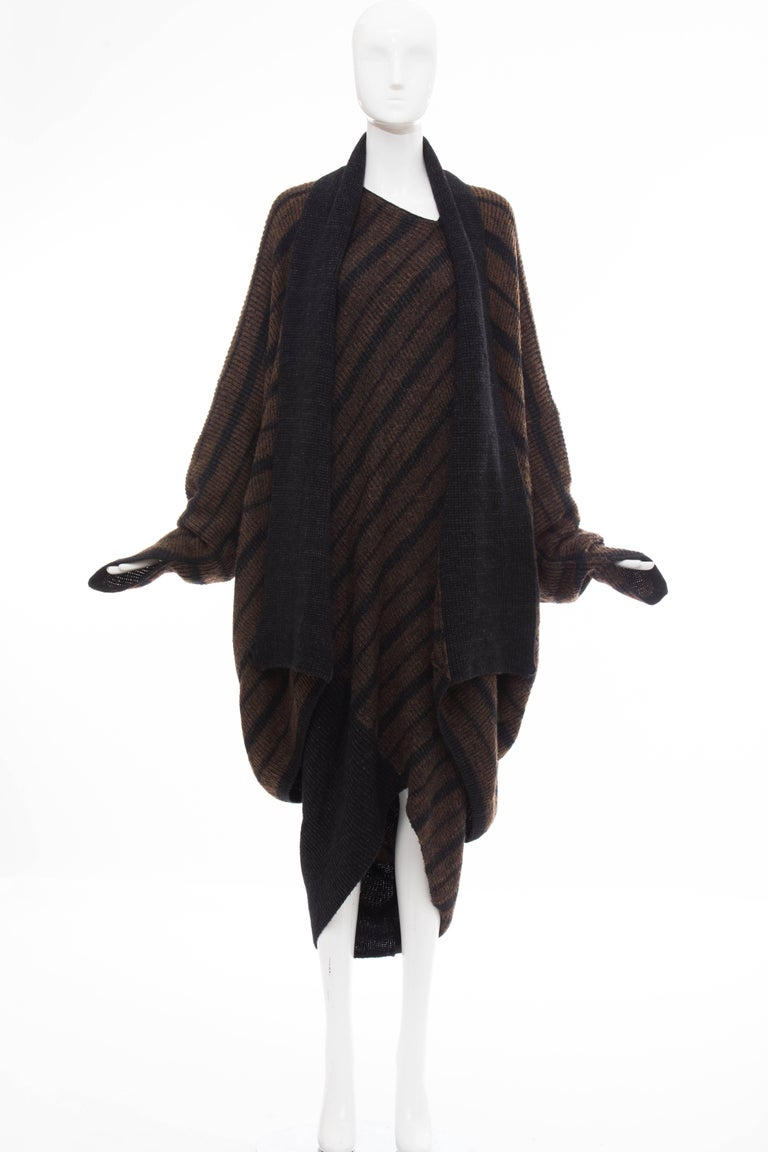 Issey Miyake Striped Wool Sweater Dress Cocoon Cardigan Ensemble, Circa 1970s For Sale 4