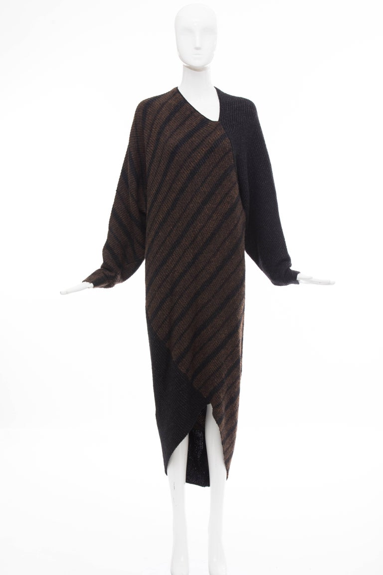 Issey Miyake Striped Wool Sweater Dress Cocoon Cardigan Ensemble, Circa 1970s For Sale 3