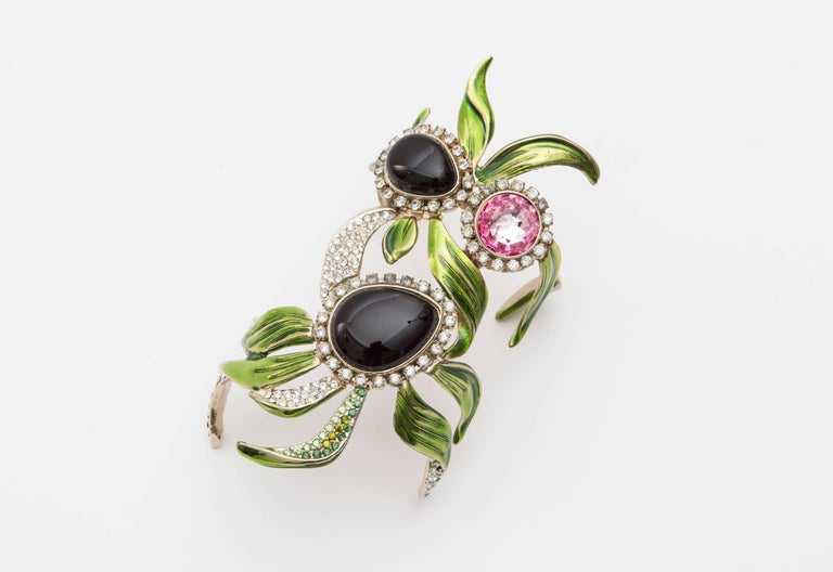 Tom Ford for Yves Saint Laurent Rive Gauche, Spring-Summer 2004 cuff bracelet with glass cabochons, sculpted enamel leaf detailing and diamanté embellishments. Includes designer box.  Fits a wrist size of 5.50 or smaller.  Inside Circumference 6,