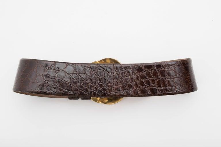 Black Donna Karan Brown Crocodile Belt With Robert Lee Morris Buckle, Circa 1980's For Sale