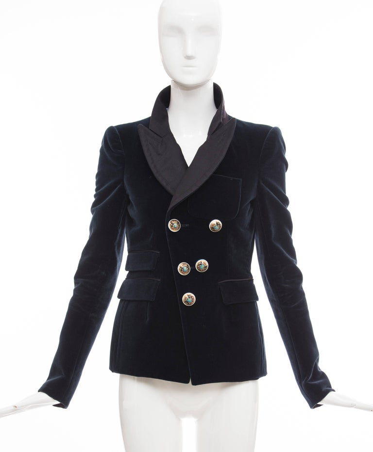 Nicolas Ghesquière for Balenciaga, Autumn-Winter 2007 blue velvet blazer with tonal stitching throughout, structured shoulders, wide peaked lapel, three flap pockets and enameled button closures at front.  EU. 38 US. 6  Bust: 36, Waist 34, Shoulder