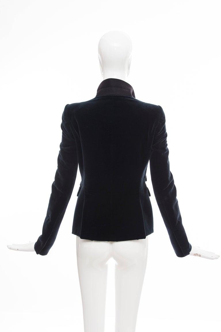 Black Nicolas Ghesquière for Balenciaga Runway Navy Blue Velvet Blazer, Fall 2007  For Sale
