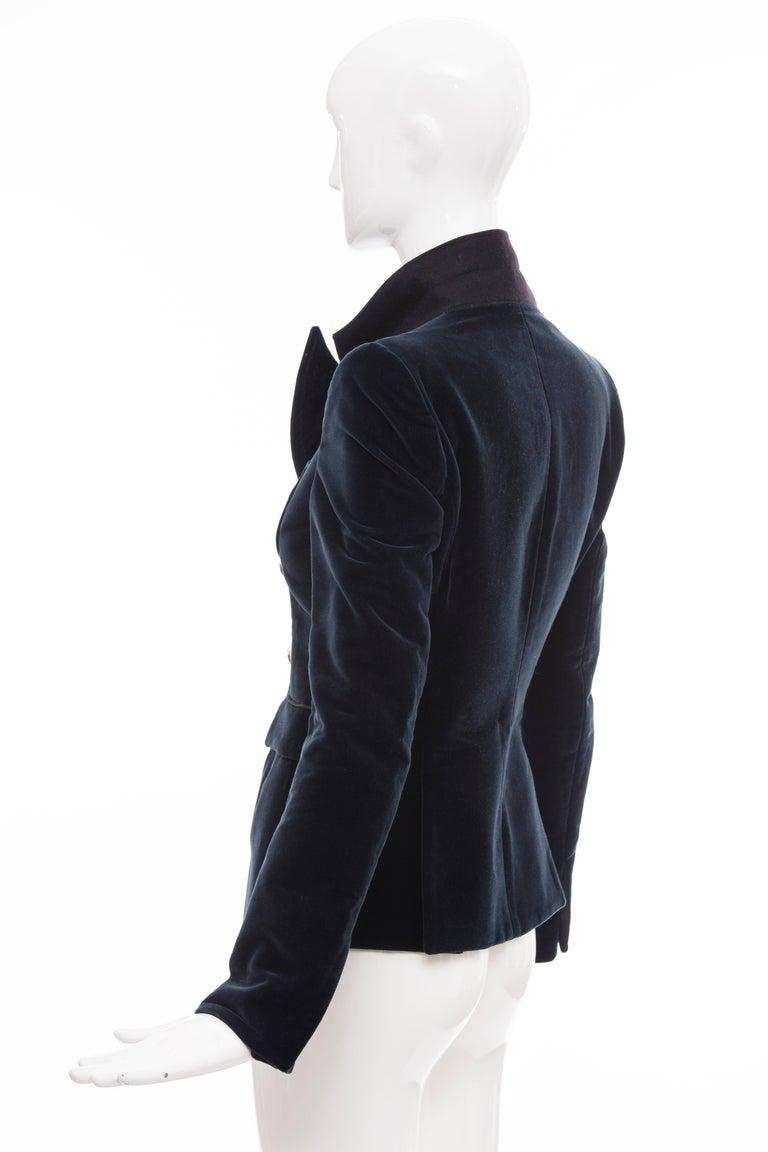 Nicolas Ghesquière for Balenciaga Runway Navy Blue Velvet Blazer, Fall 2007  For Sale 3