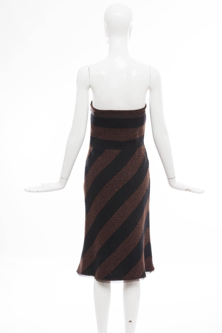 Black Prada Brown Navy Blue Striped Virgin Wool Tweed Strapless Dress, Fall 2000 For Sale