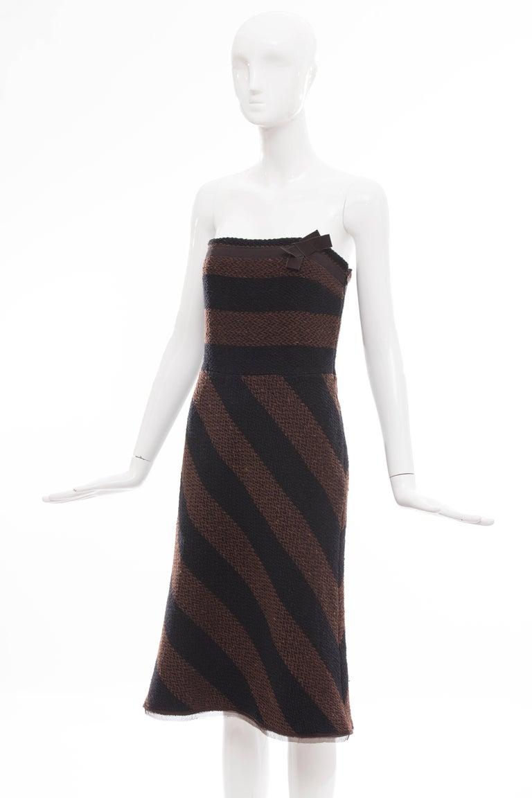 Prada Brown Navy Blue Striped Virgin Wool Tweed Strapless Dress, Fall 2000 In Excellent Condition For Sale In Cincinnati, OH