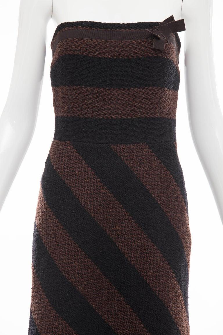 Women's Prada Brown Navy Blue Striped Virgin Wool Tweed Strapless Dress, Fall 2000 For Sale
