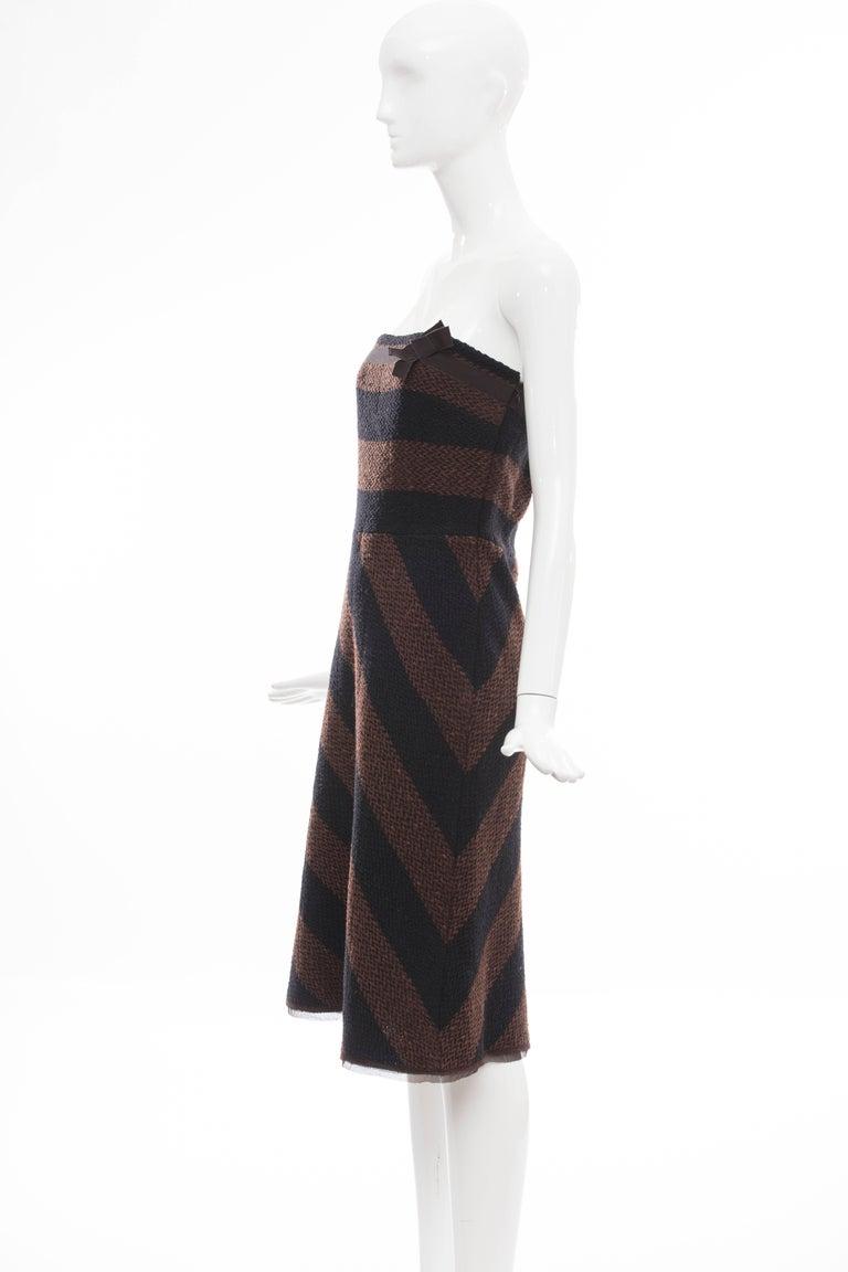 Prada Brown Navy Blue Striped Virgin Wool Tweed Strapless Dress, Fall 2000 For Sale 1